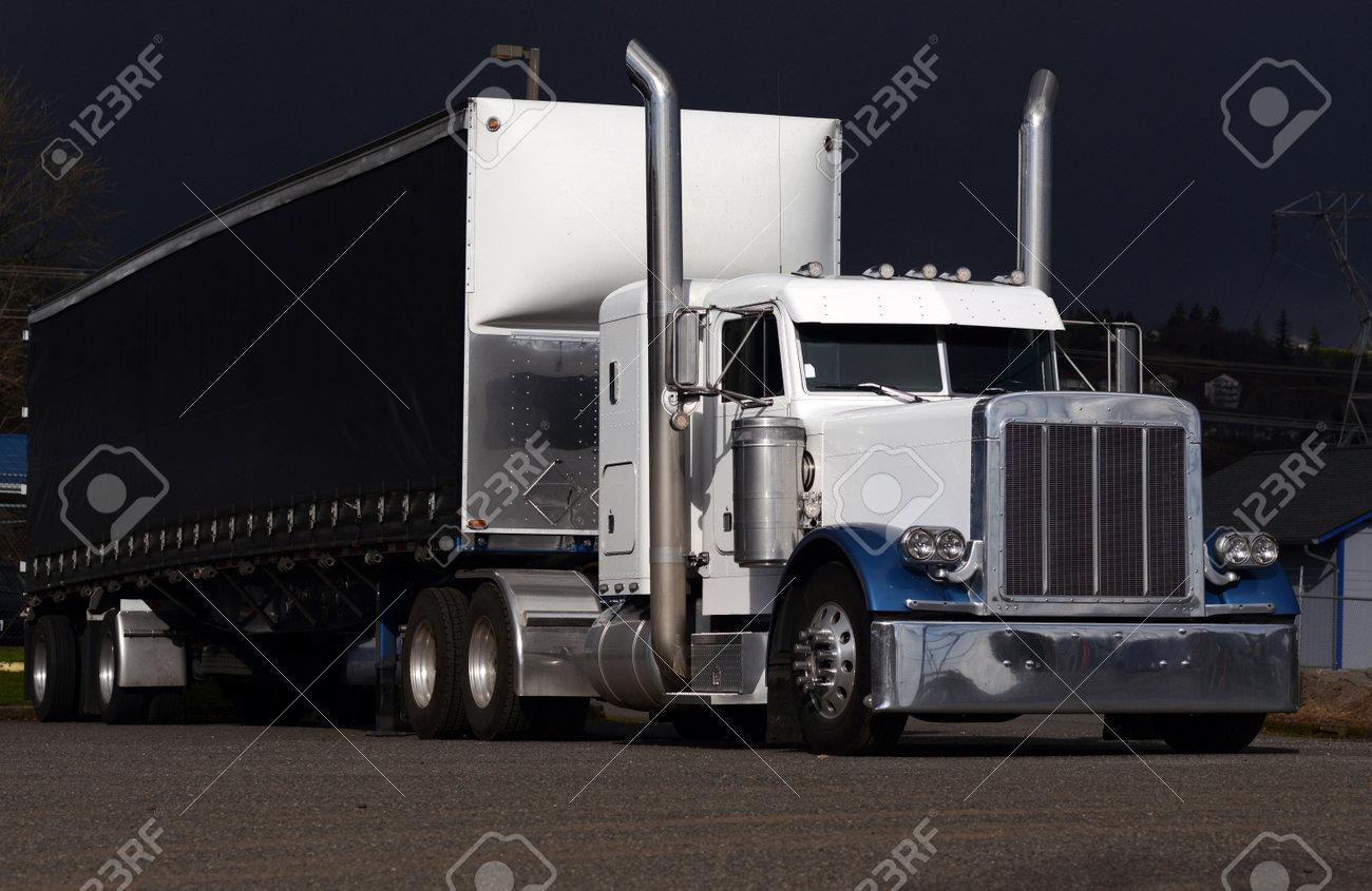 Semi Truck Black And White Semi Truck With Black