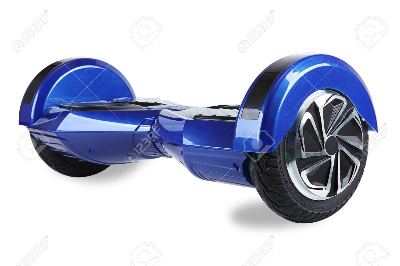 Close up of dual wheel self balancing electric skateboard smart scooter on white  background stock photo 8e5e9b2f432