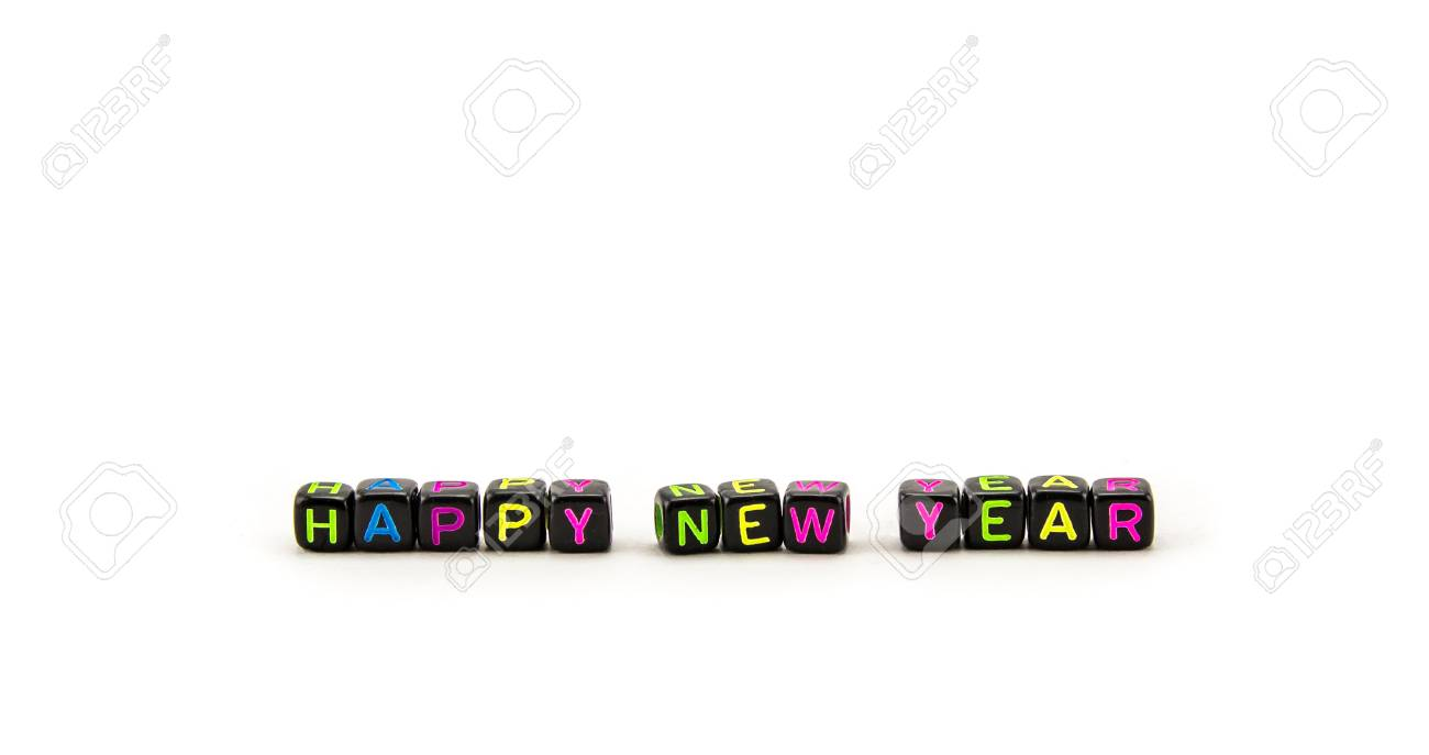Happy New Year Colorful Wording By Dice Cube On White Isolate ...