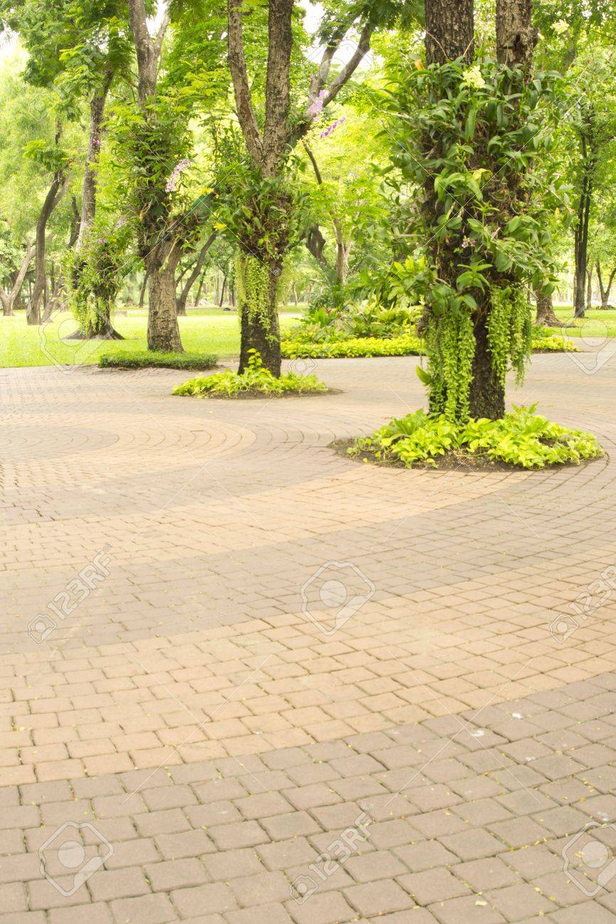 details of circle design stone floor tiles for outdoors garden stock photo 14372838