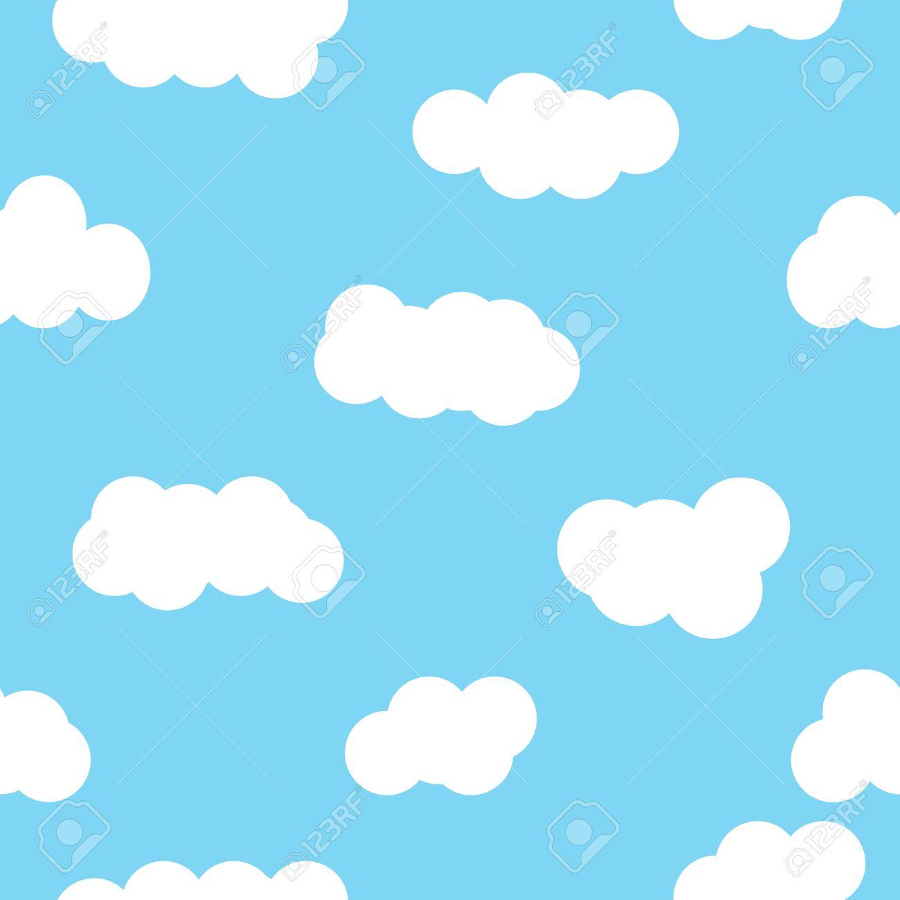 Cloud pattern blue wallpaper design  Seamless cloud pattern
