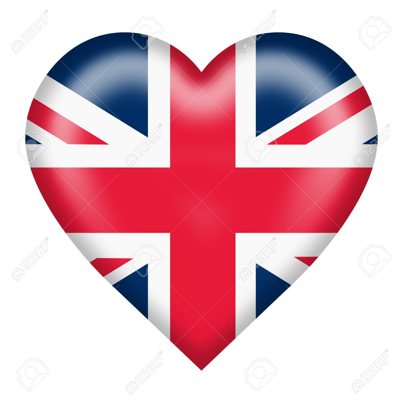 A union flag heart button isolated on white - 122888793