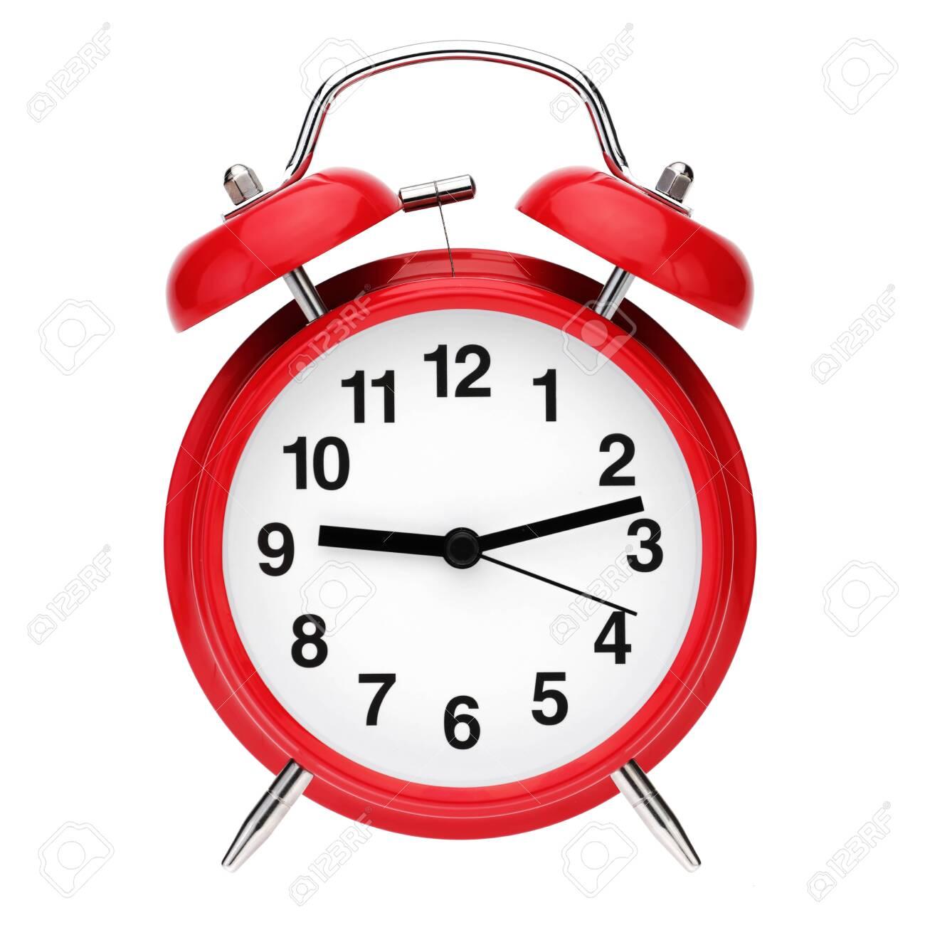 Red retro alarm clock isolated on white background - 131019754