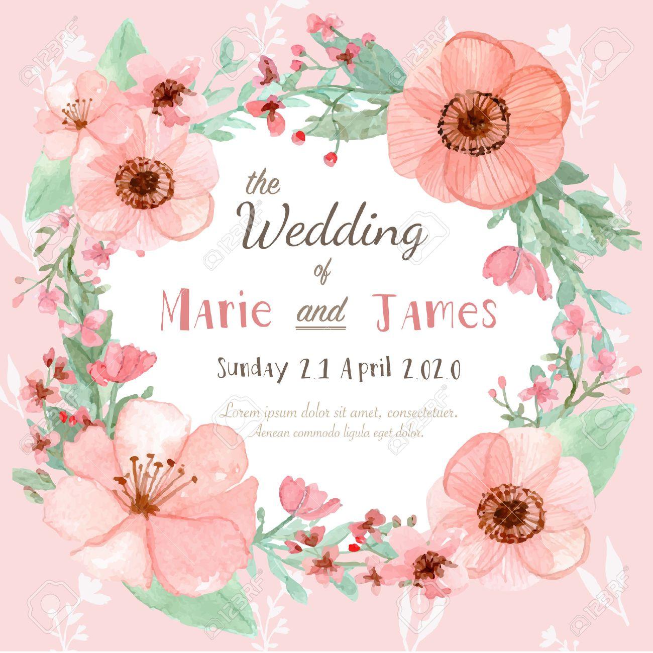 花結婚式招待状グリーティング カードの日付を保存のイラスト素材