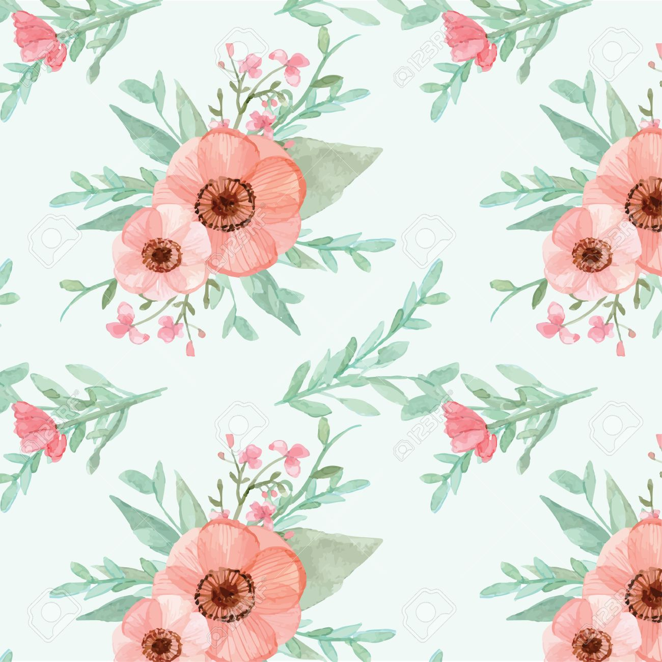 Seamless Flowers And Leaves Wallpaper Pattern Vector On Plain Background Stock