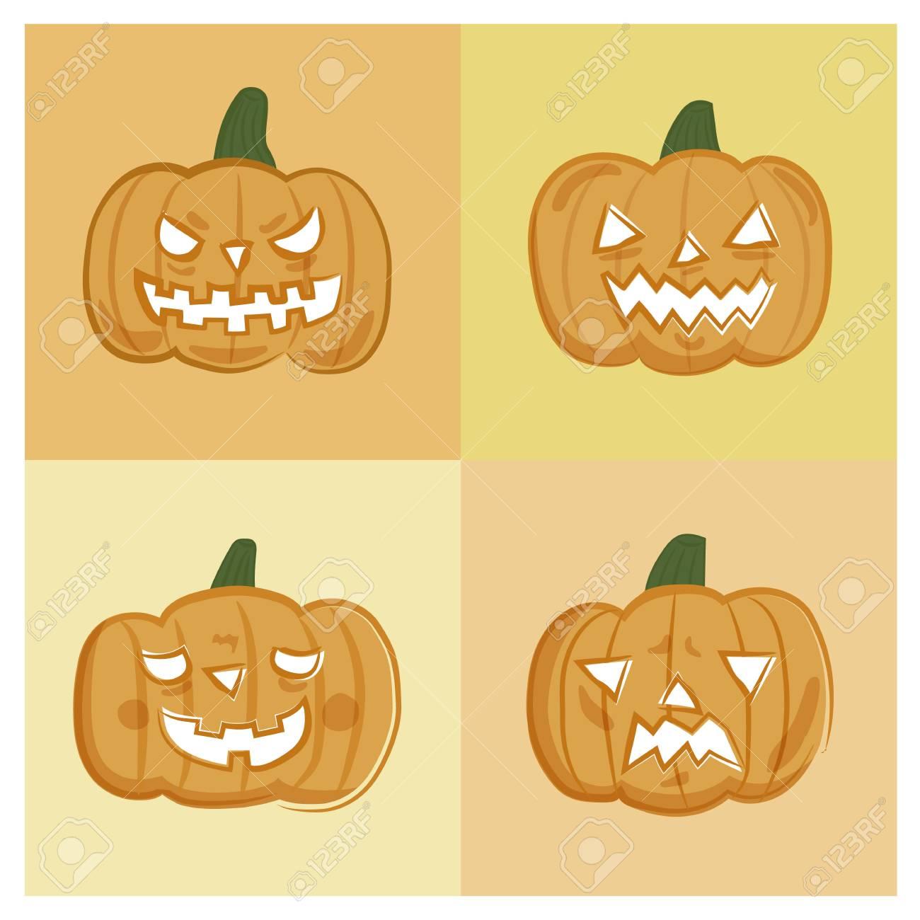 ハロウィンかぼちゃおばけ顔ベクトル アイコンを設定のイラスト素材