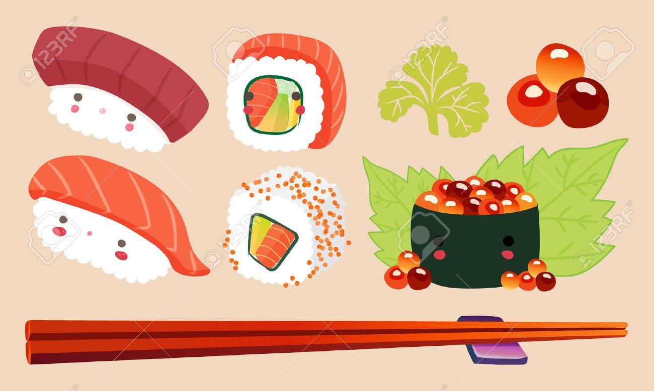 日本の食べ物イラスト 寿司漫画コミックかわいい文字ベクトルを設定 の