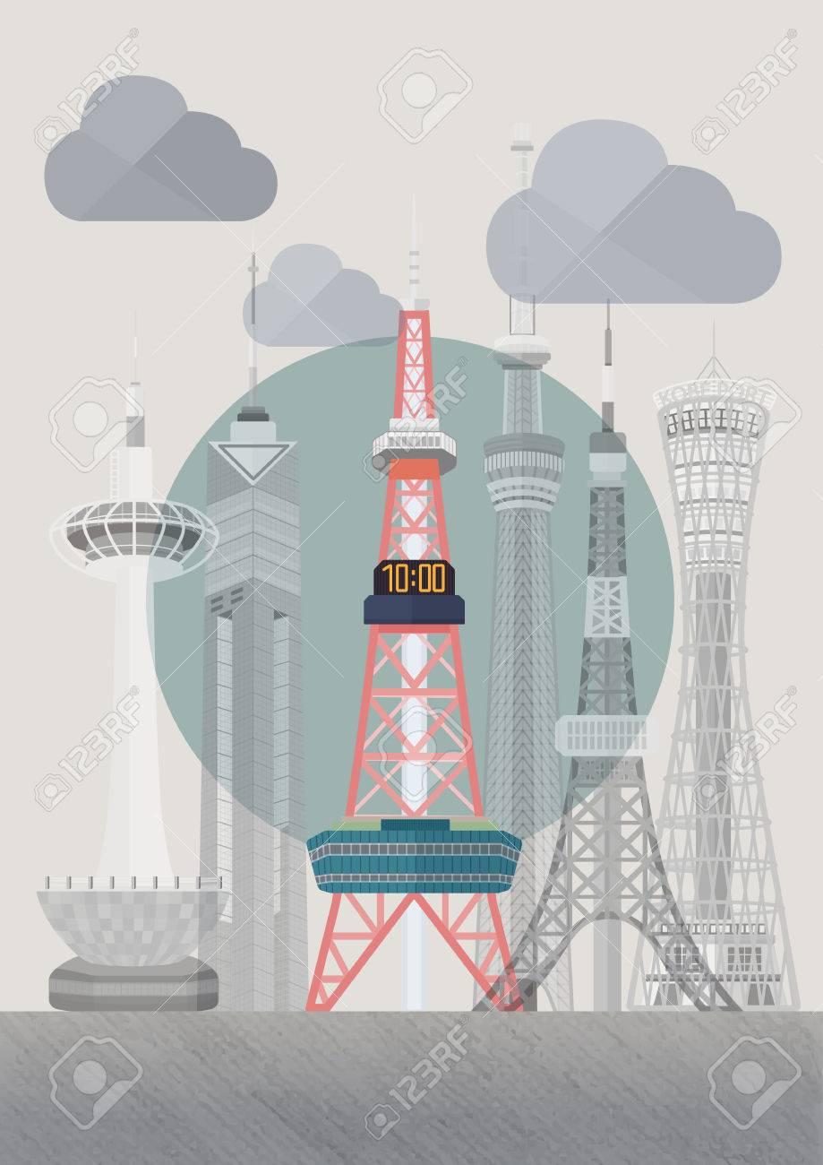 旅行の日本有名なタワー シリーズ イラスト さっぽろテレビ塔の