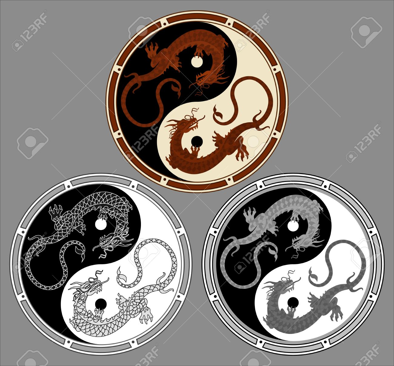 Dragon The Yin Yang Dragons In Shape Of Symbol