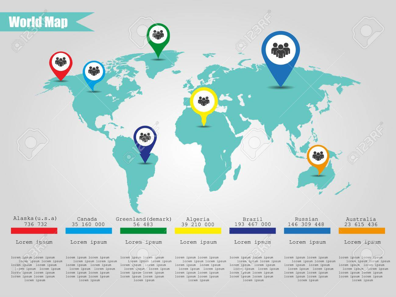 Colorful modern infographic world map vector illustrator royalty colorful modern infographic world map vector illustrator stock vector 40548063 gumiabroncs Gallery