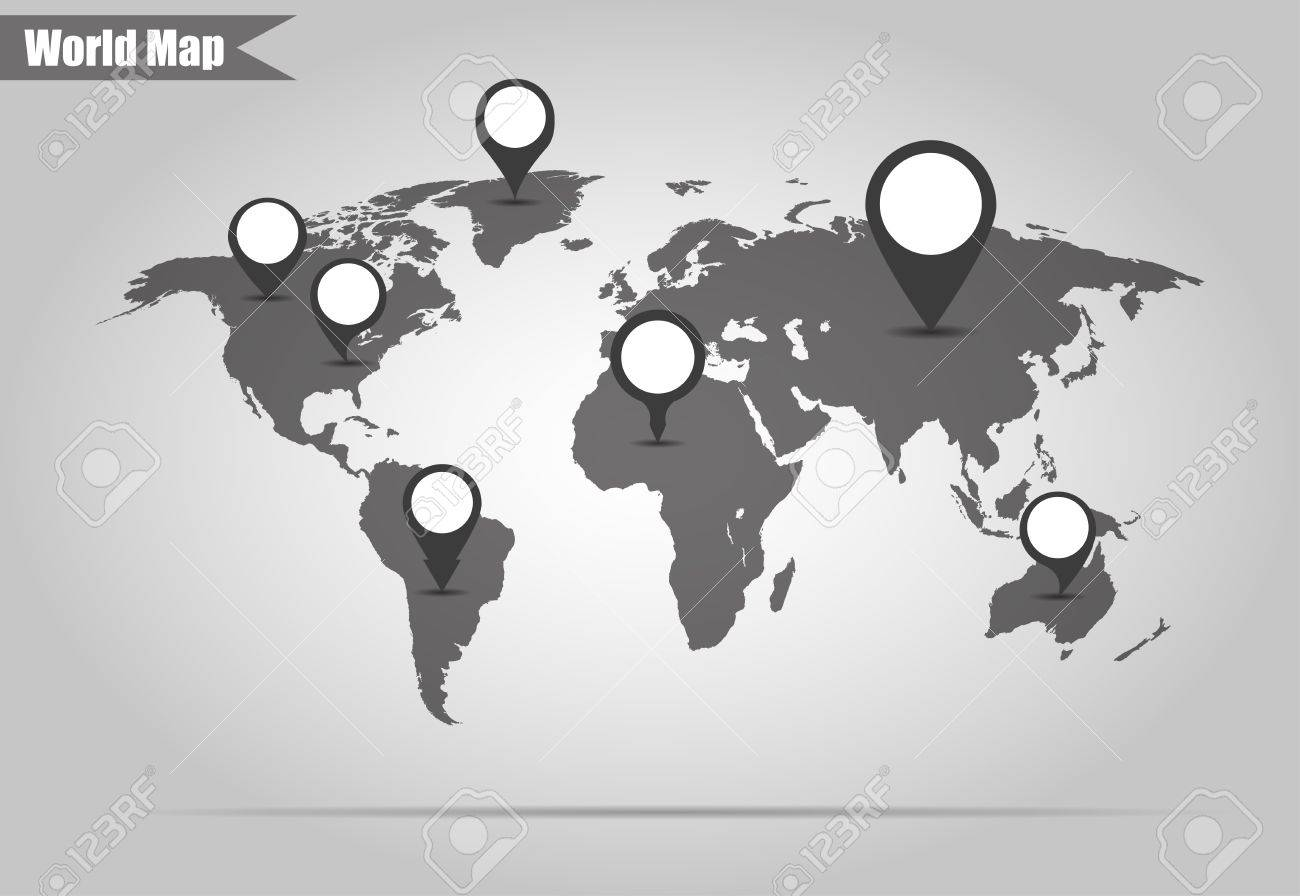 vector world map with pointers to different countries vector