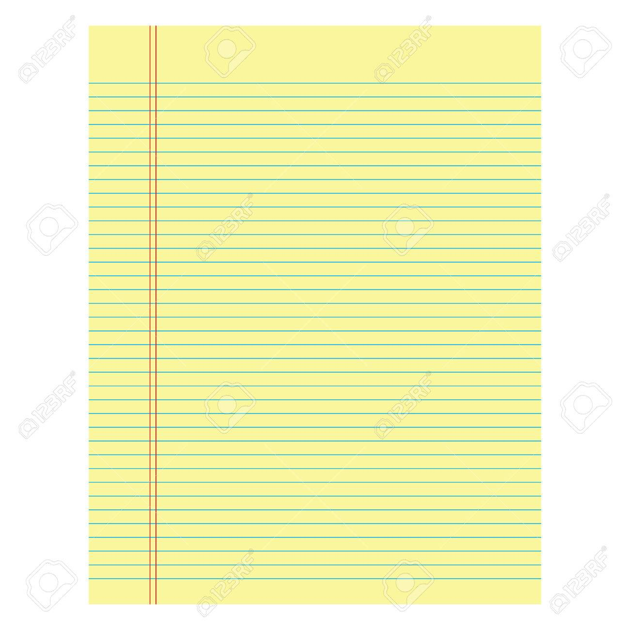 notebook paper yellow colored on a white background royalty free