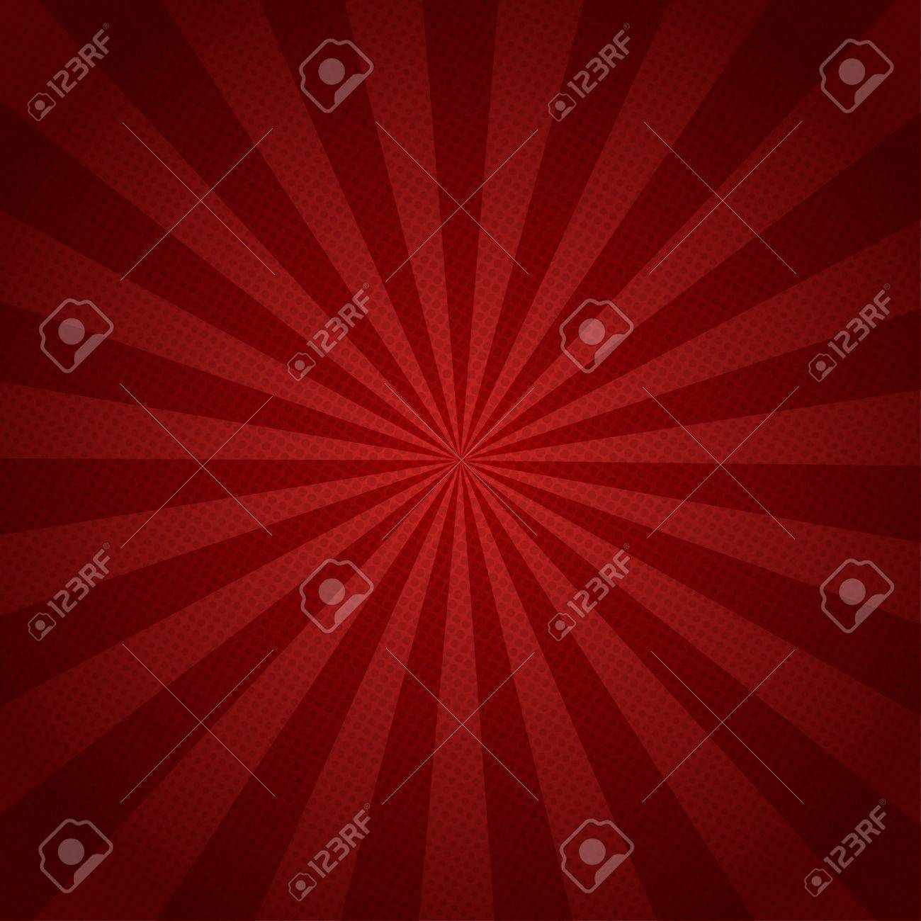 Red rays retro background with halftones stylish - 55803271