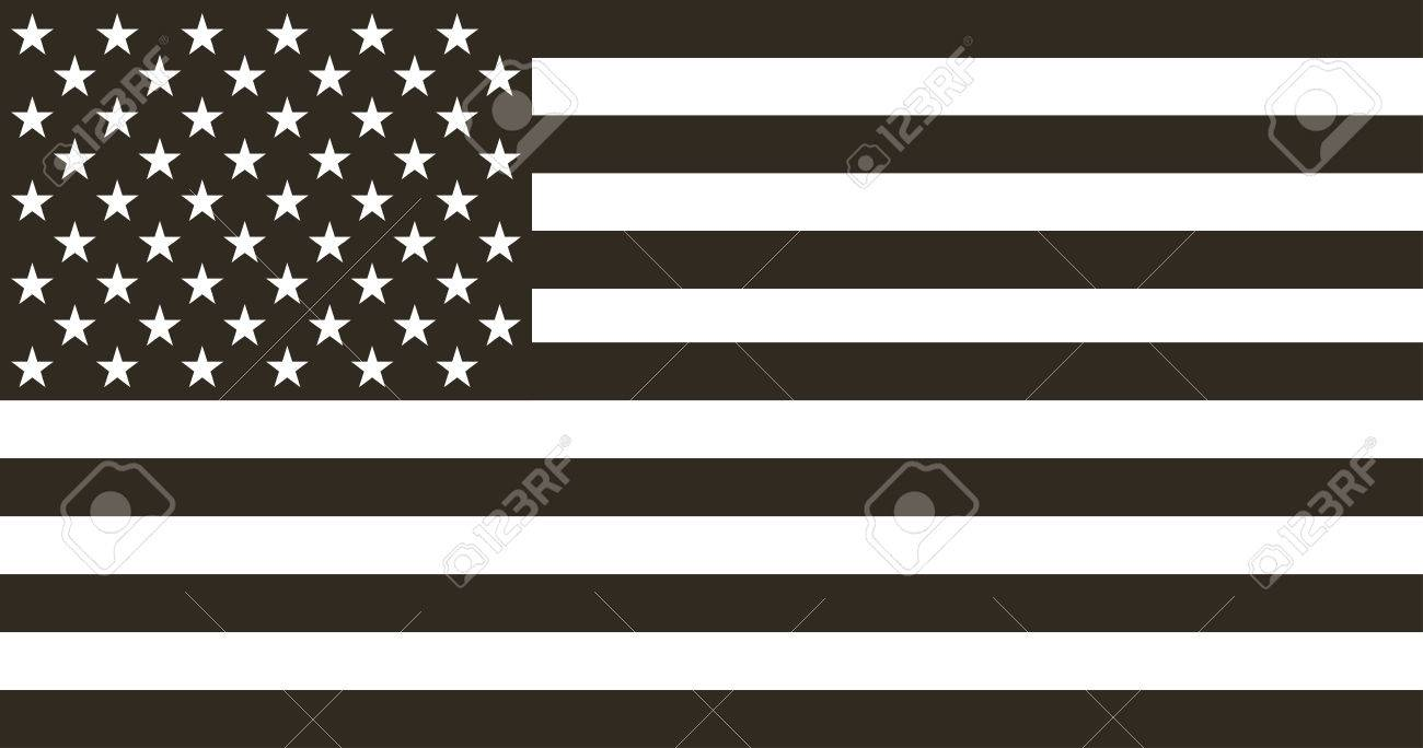 Flag american black and white in flat design - 55803356