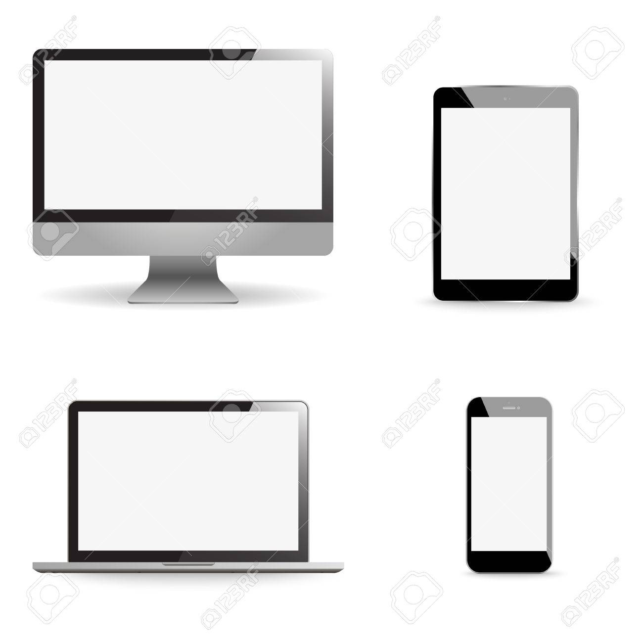 Set realistic Monitors laptop tablet and phone vector illustration - 55803662