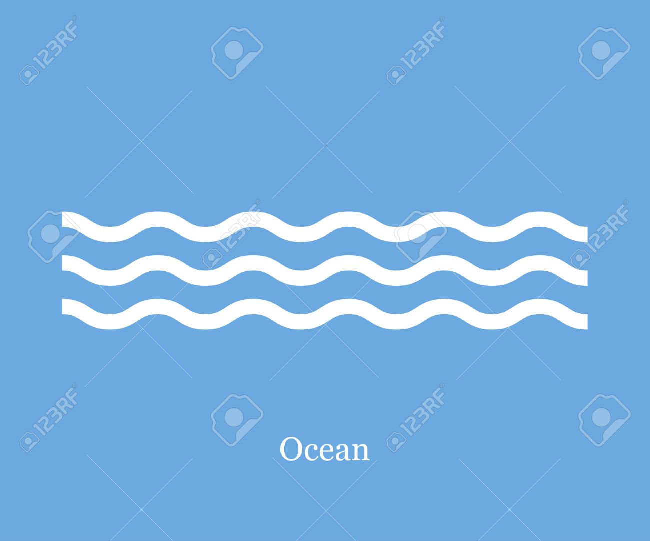 Waves icon ocean on a blue background - 58705421
