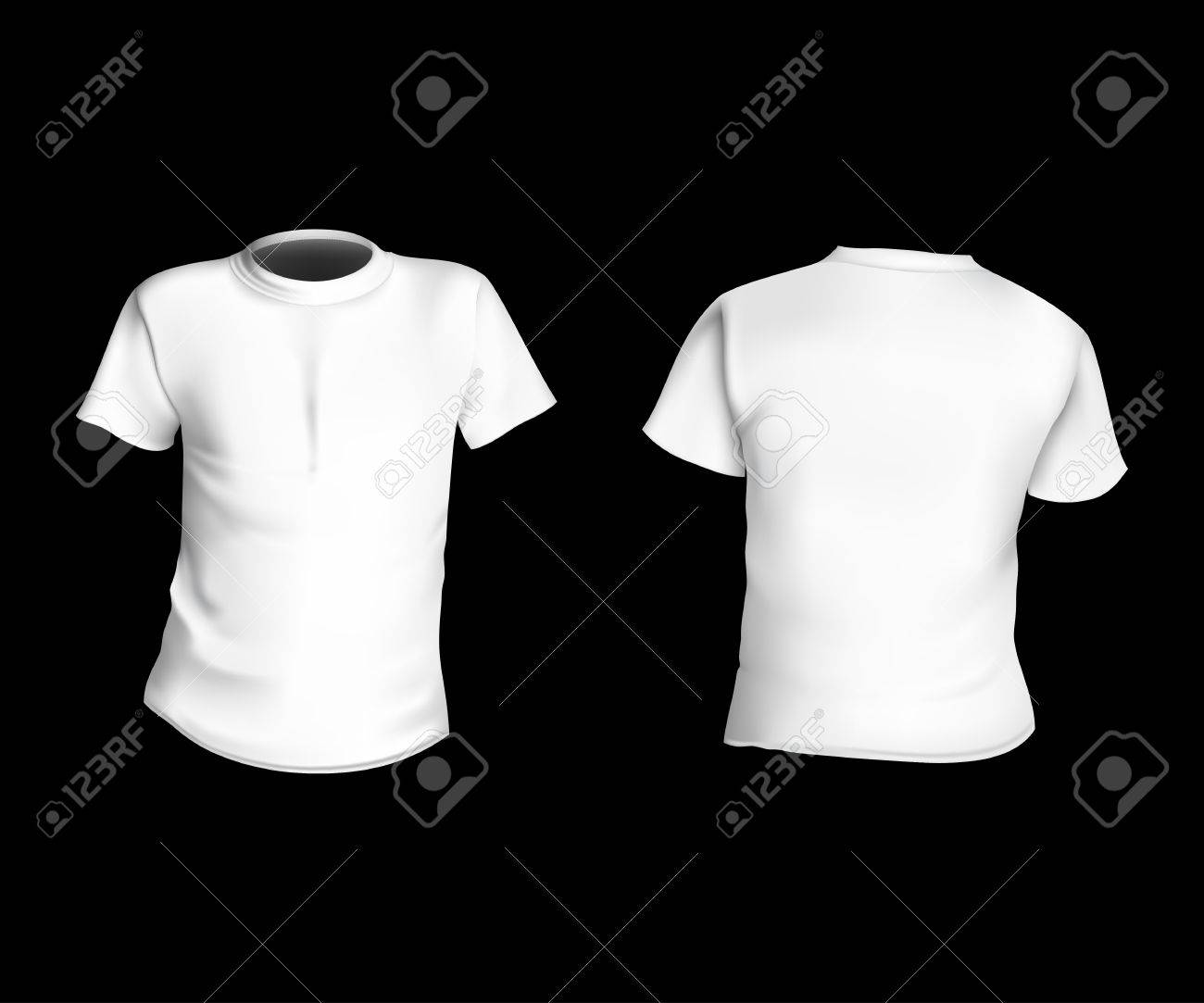 White T Shirt Template Front And Back On A Black Background Stylish