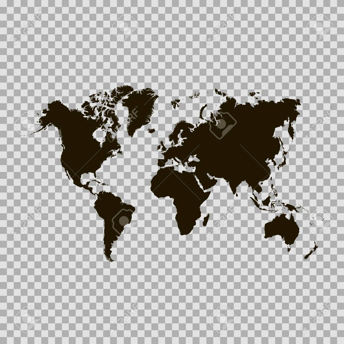 Flat World Map Vector.Black Similar World Map World Map Blank World Map Vector World