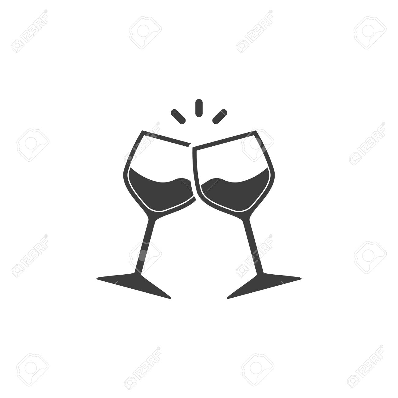 Champagne glasses icon. Glasses with wine in flat style. Vector illustration - 122946384