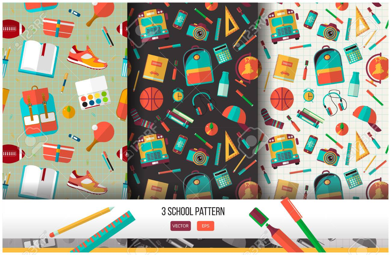 Vector set of 3 school seamless pattern. Back to school illustration on notebook paper background. High school object college items in flat style. - 54792642