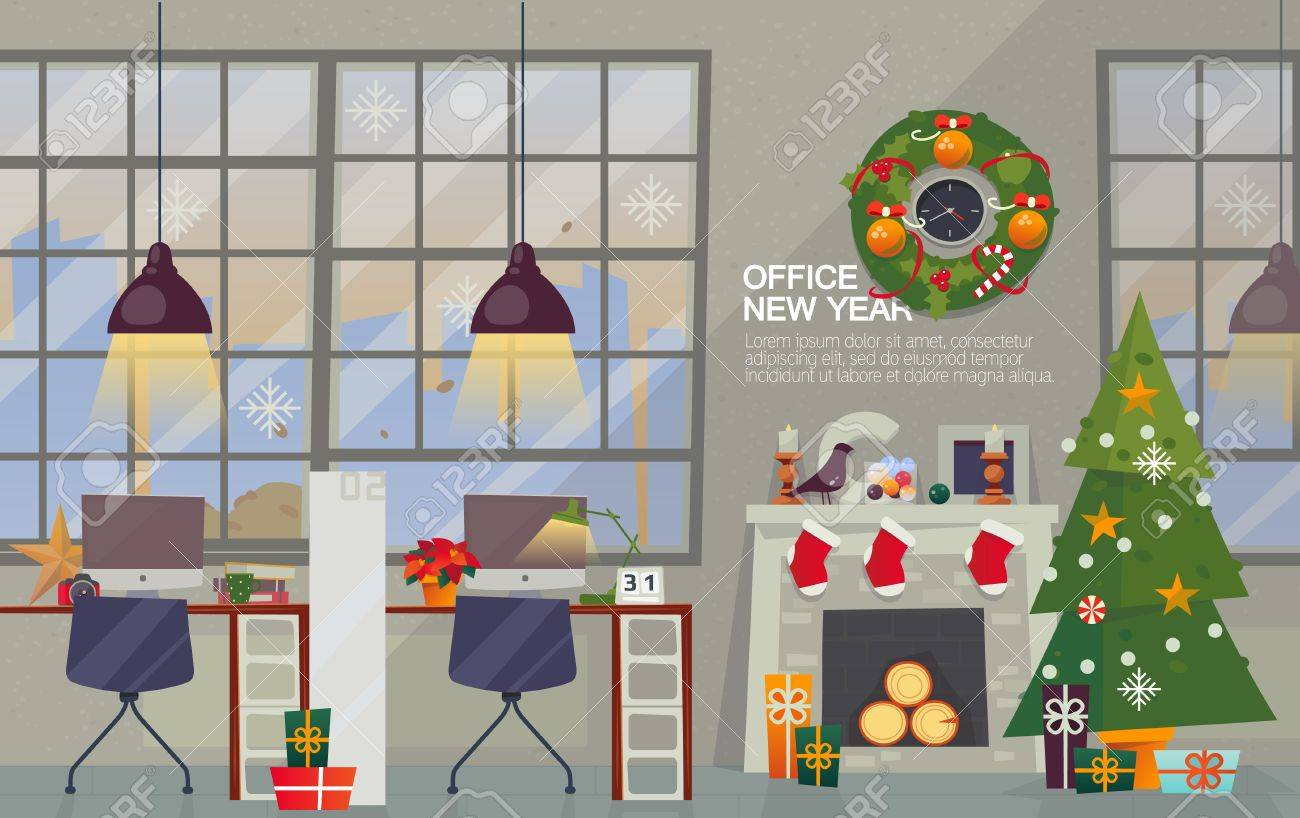 Vector Flat Style. Merry Christmas And Happy New Year Office ...