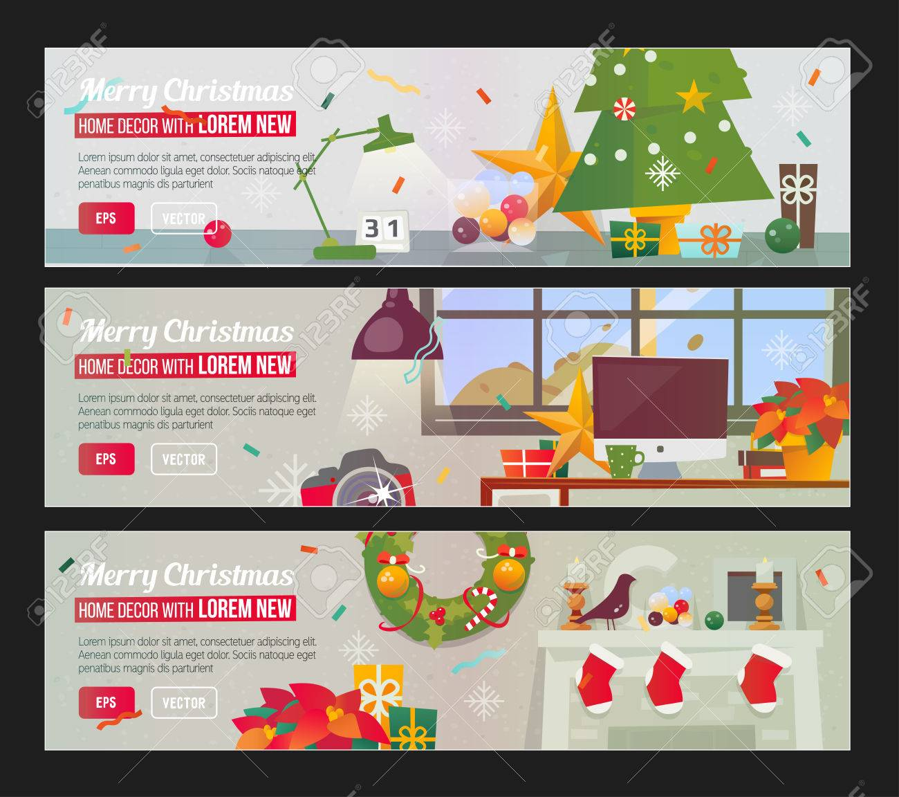 Workplace With Decorations Fireplace Christmas Home Flat Design