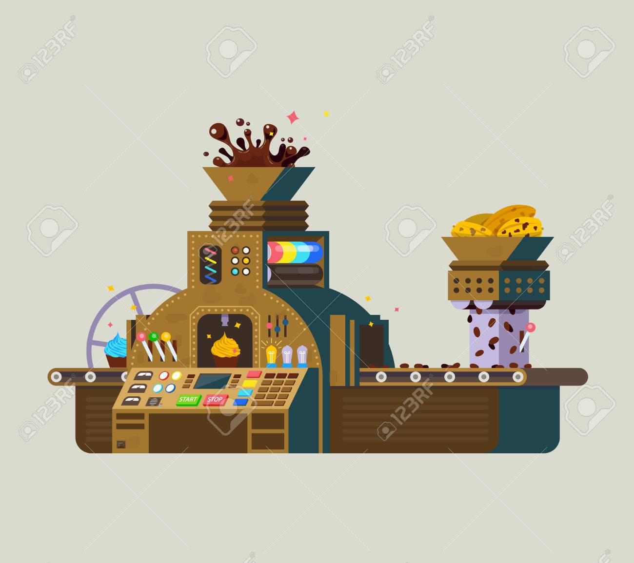 Chocolate Factory vector iilustration. Print of creative chocolate food preparation, made from cacao seeds. - 70995277