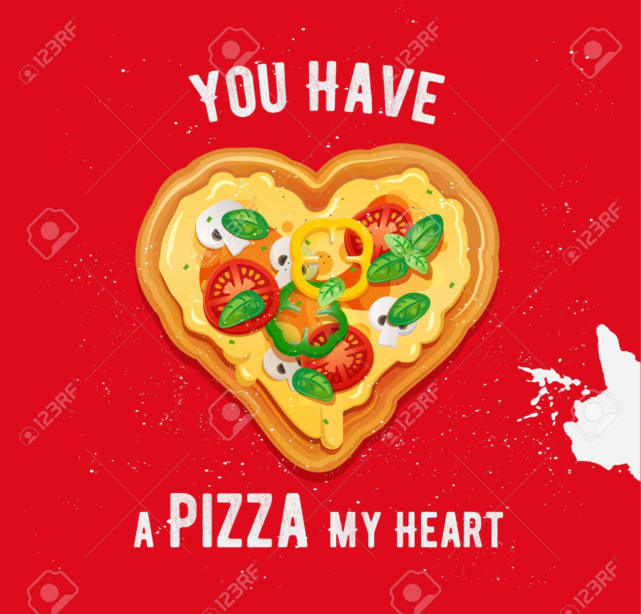 Pizza love card design with funny quote on red background.