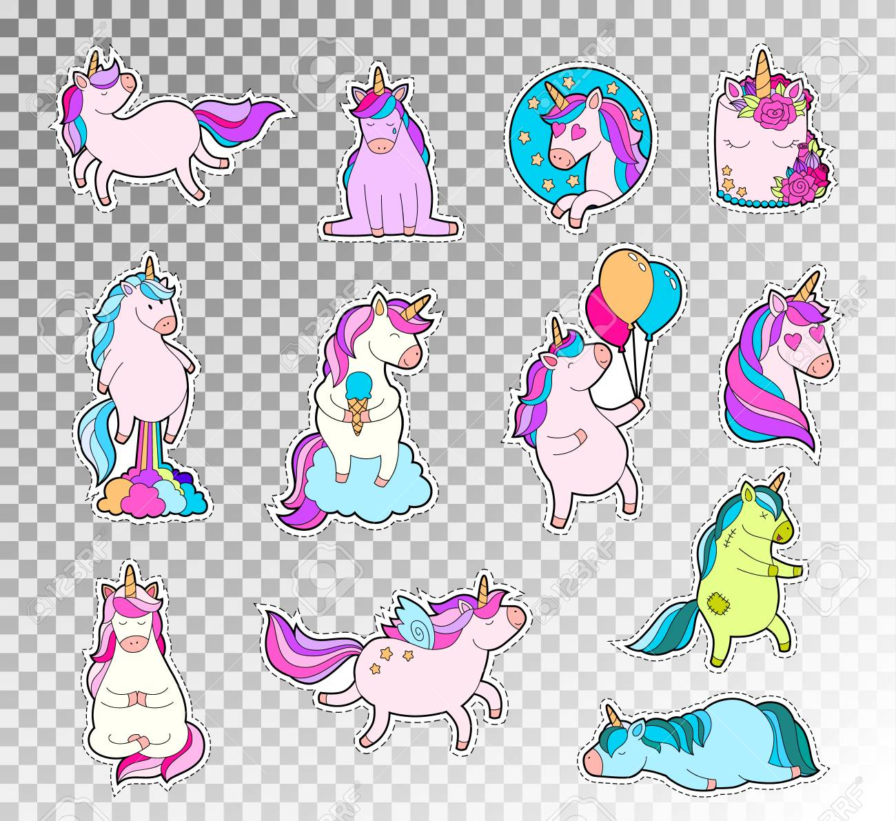 Colored doodle set of cute unicorn. Vector sketch illustration of unicorn emotions sticker. - 90659418
