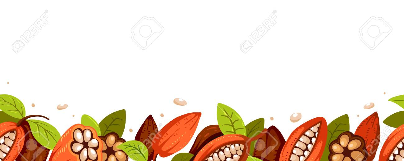 Chocolate Tree Cocoa Beans Print Composition Of Cocoa Design Royalty Free Cliparts Vectors And Stock Illustration Image 136607220