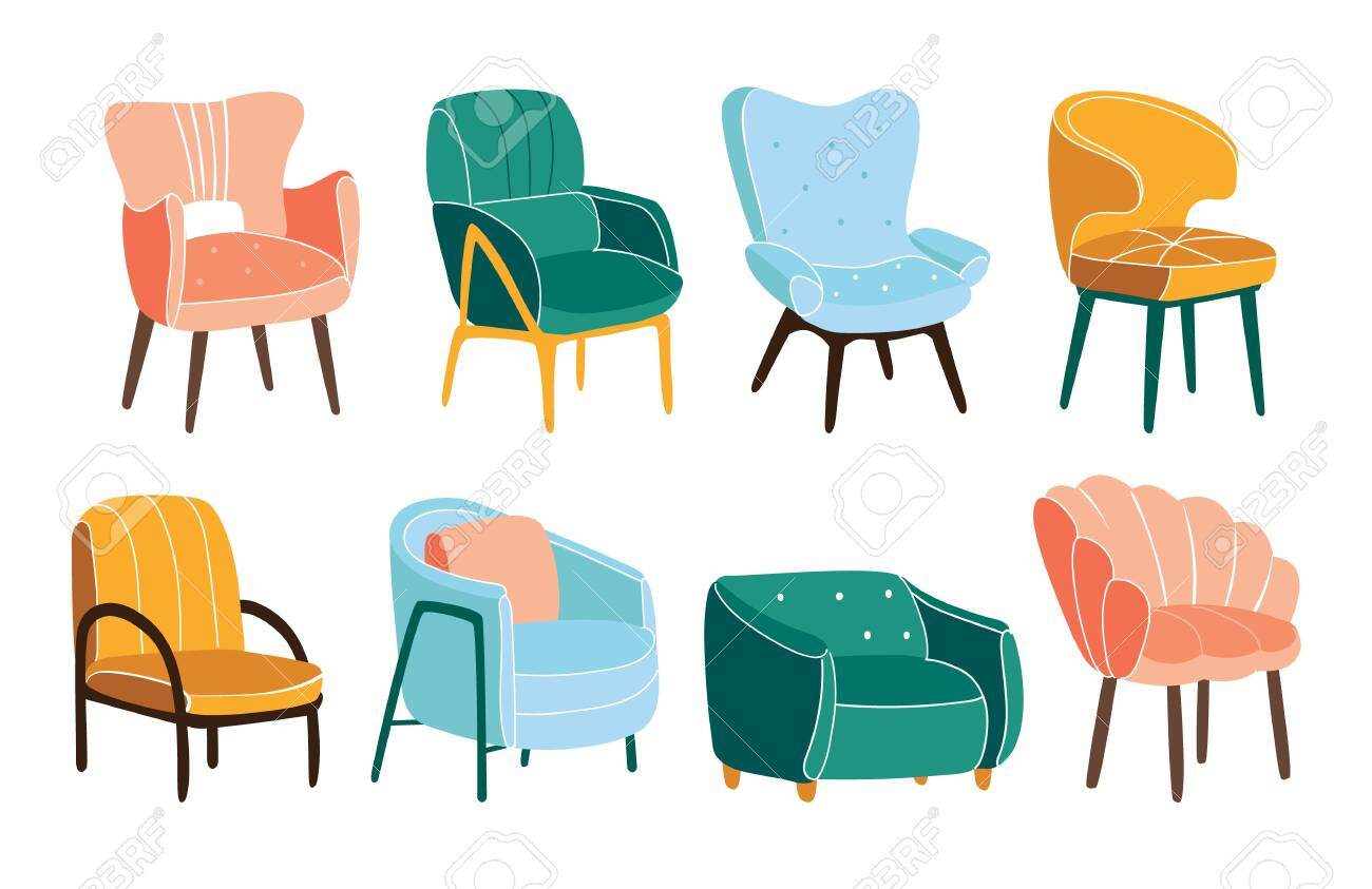 photo stock vector fortable armchairs set of trendy scandinavian chairs isolated on white set of simple fashionable