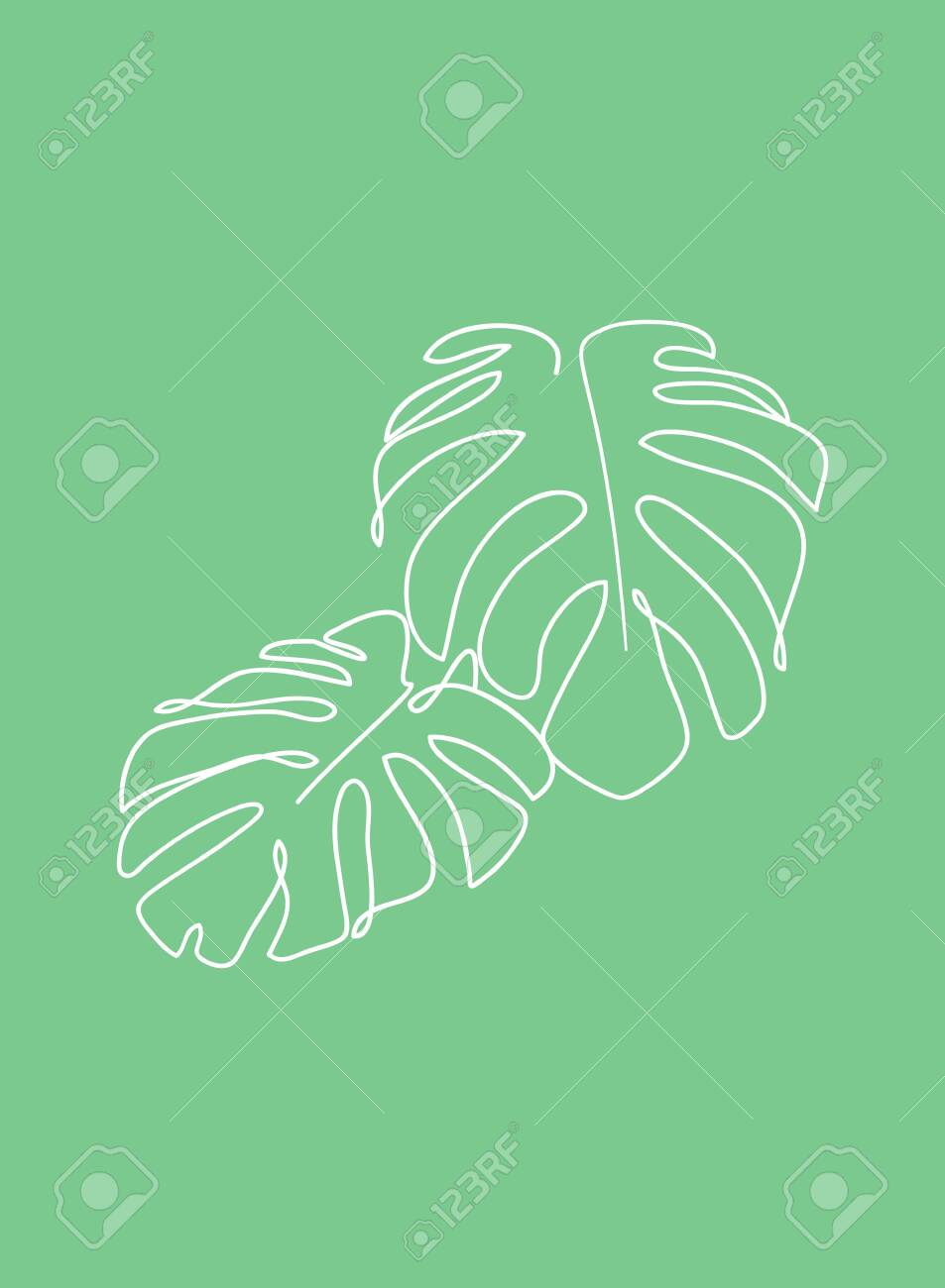 Continuous Line Plant Drawing Monstera Leaves Line Nature Icon Royalty Free Cliparts Vectors And Stock Illustration Image 154747078