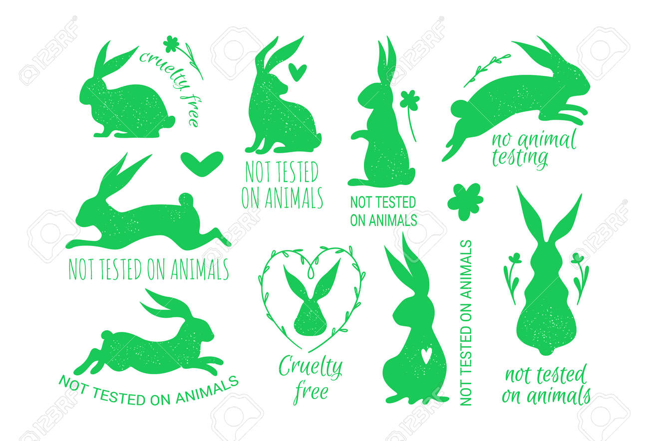Vector set of cruelty free badges with a rabbit Not Tested on Animals, Cruelty Free Badges. - 164650183