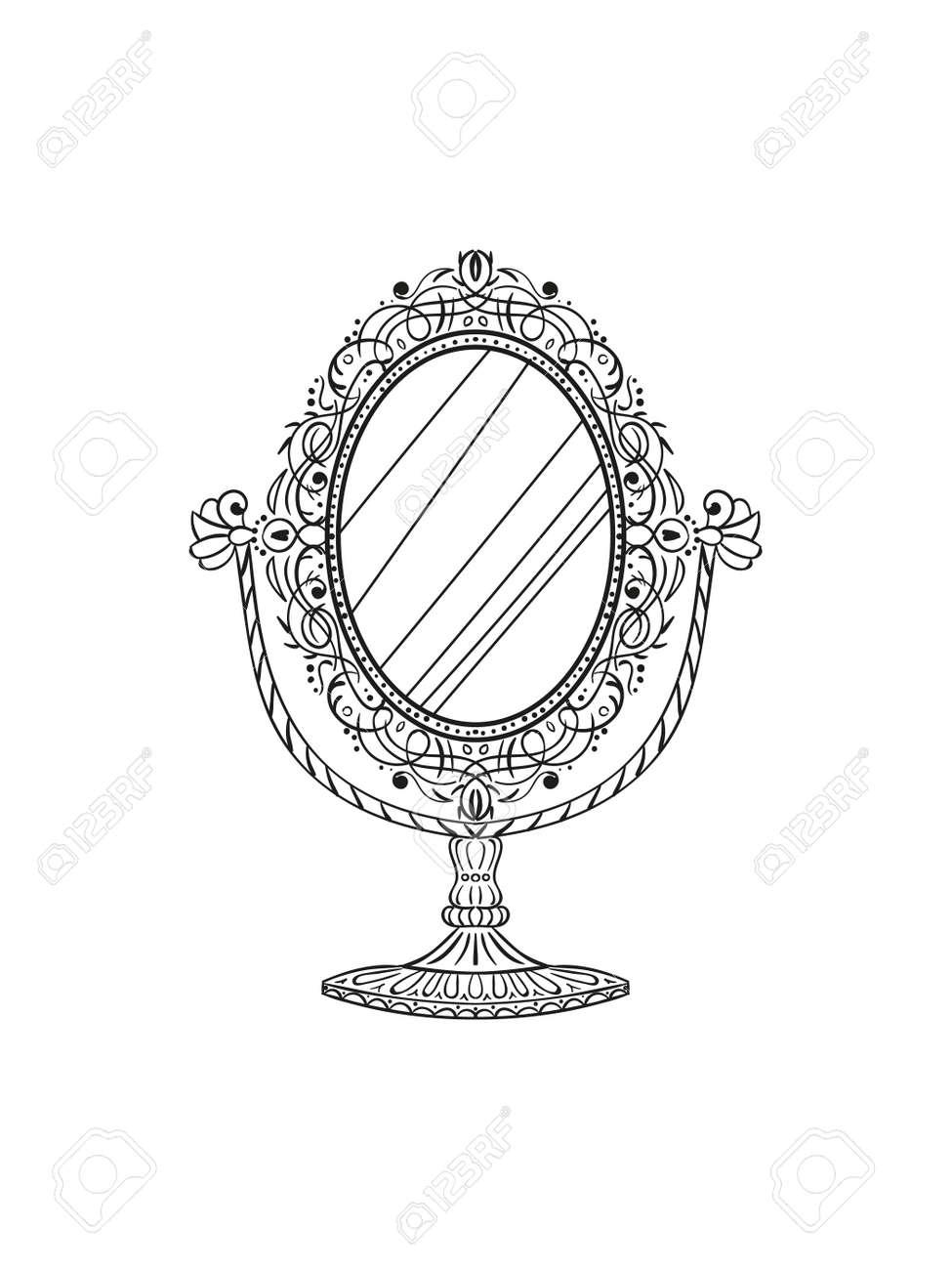 Freehand pencil drawing of a vintage table mirror. Sketchy antique baroque mirror. Vector illustration. - 166906106