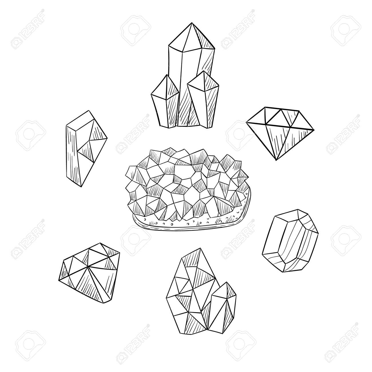Freehand drawing of various crystals. Sketch of crystals icons. Vector illustration. - 167208080