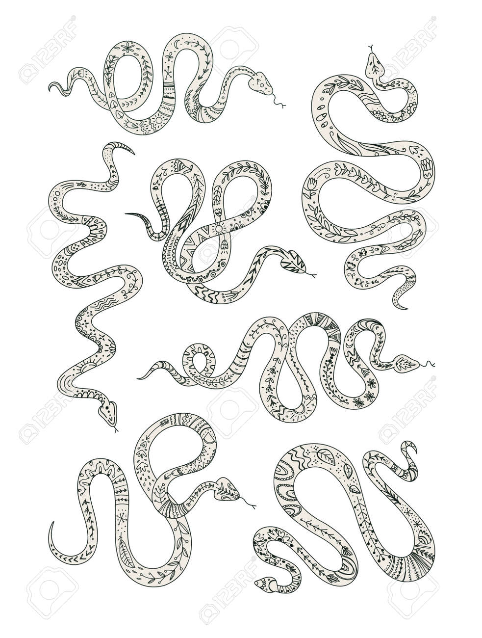 Vector set of snakes totem animal graphic elements for tattoo or sticker black and white design. - 170385236