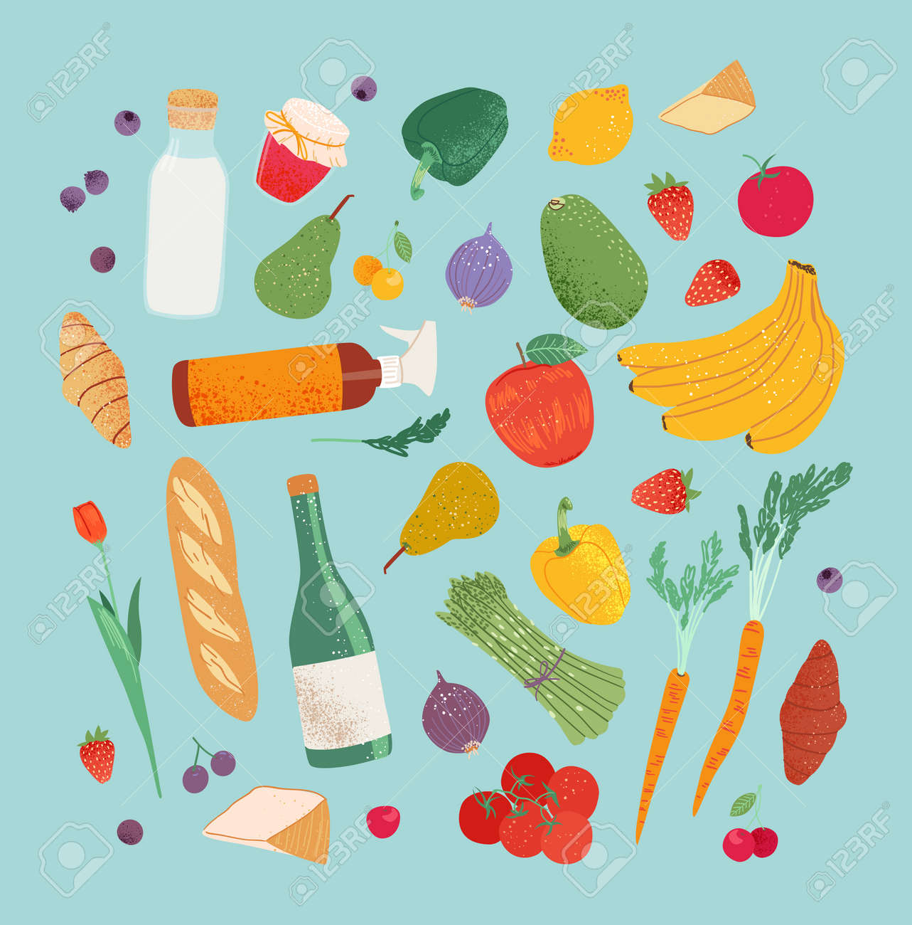 Grocery purchases set, fruits and vegetable from the local store, market, farm. Department store goods illustration for banner, pattern. - 170385443