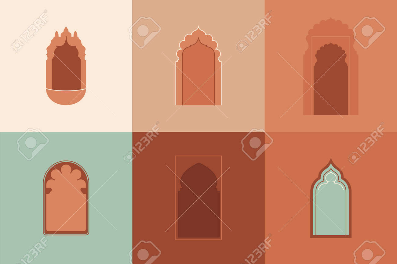 Vector moroccan shapes set. Architectural elements, arabic silhouettes of windows and doorways. Arabic badge design. - 170385442