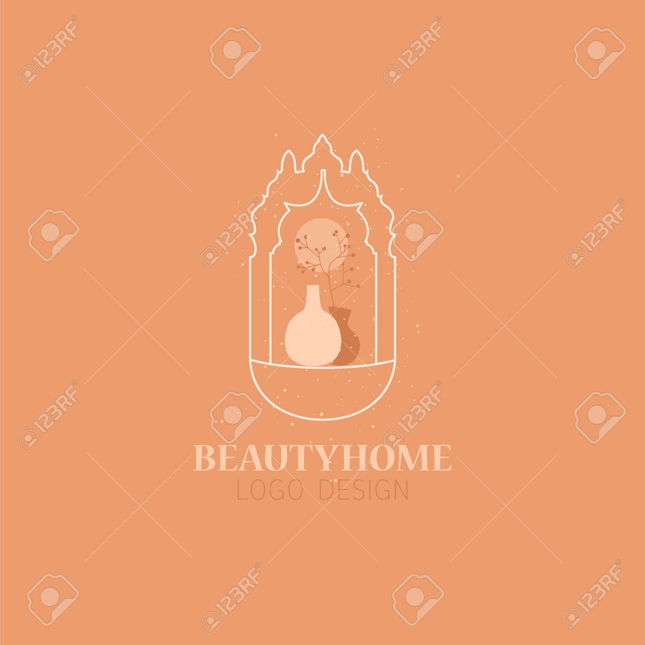 Vector concept of trendy arch with dried flowers in a vase, linear style with window in moroccan style. - 170385445