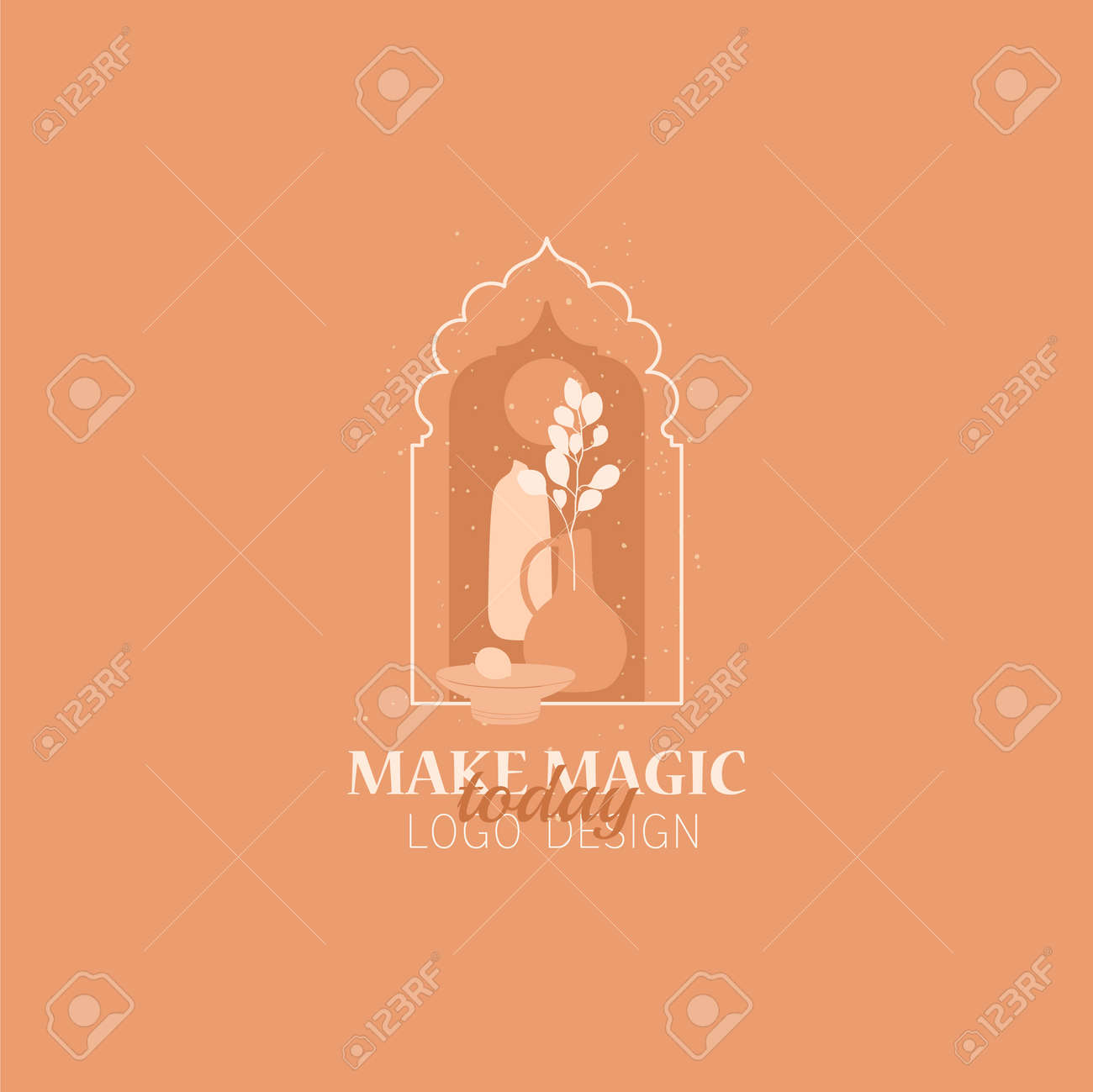 Vector concept of trendy arch with floral and different vases, ceramics elements, linear style with window in moroccan style. - 170175985
