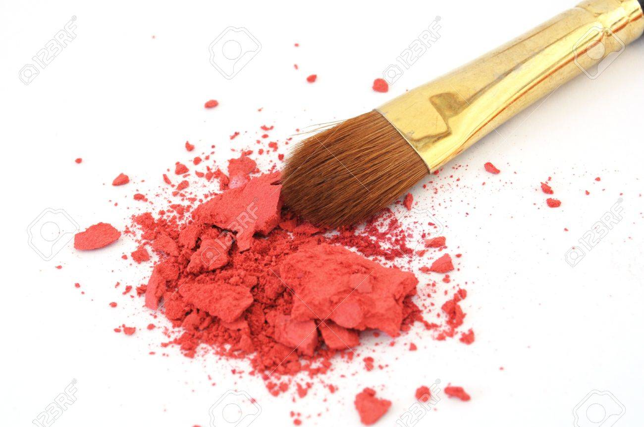 makeup brush and cosmetic powder isolated on white background - 8159178