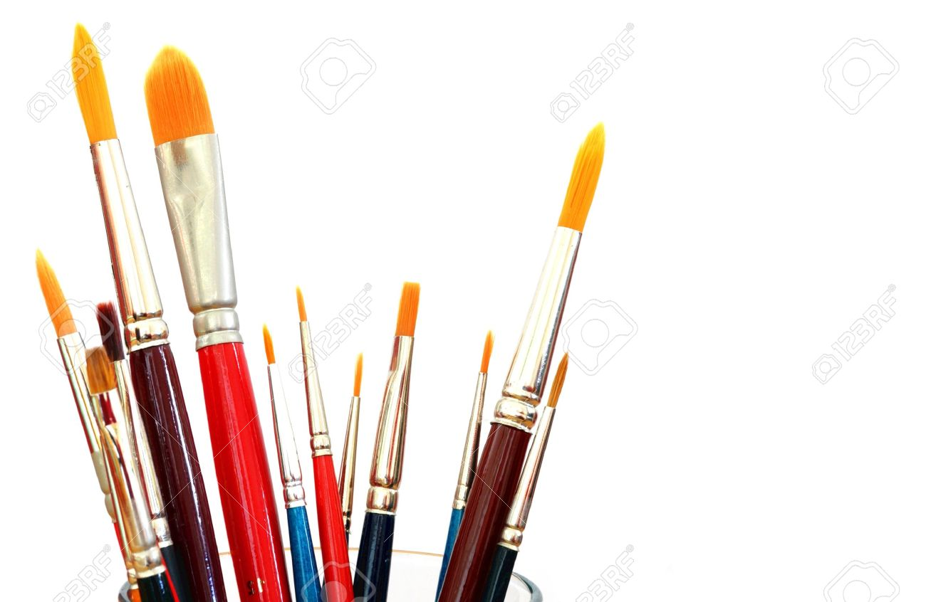close up of different paint brushes isolated on white background Stock Photo - 8681297