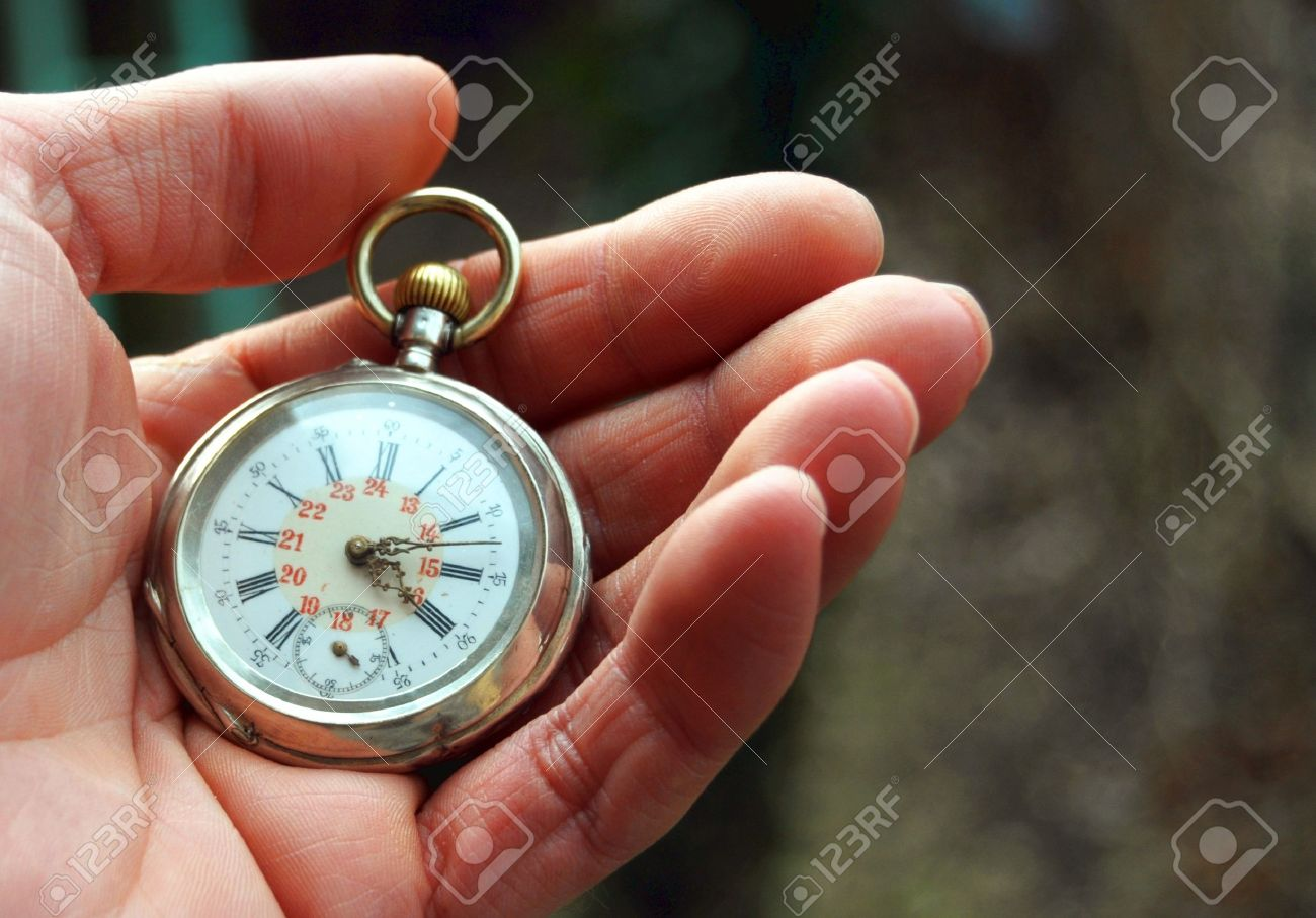 human hand holding a old pocket watch Stock Photo - 8826176