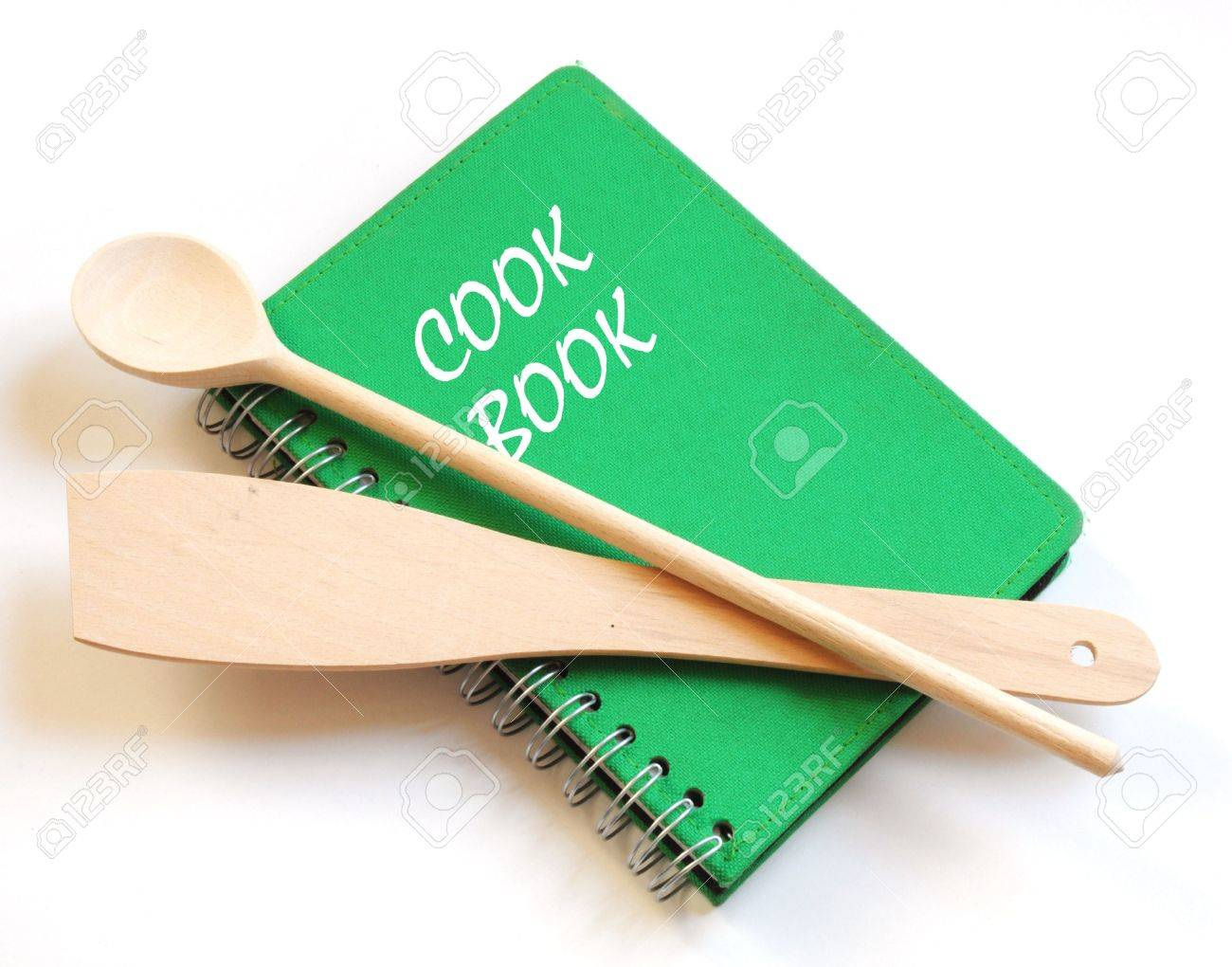green cookbook and kitchenware isolated on white background Stock Photo - 9041303