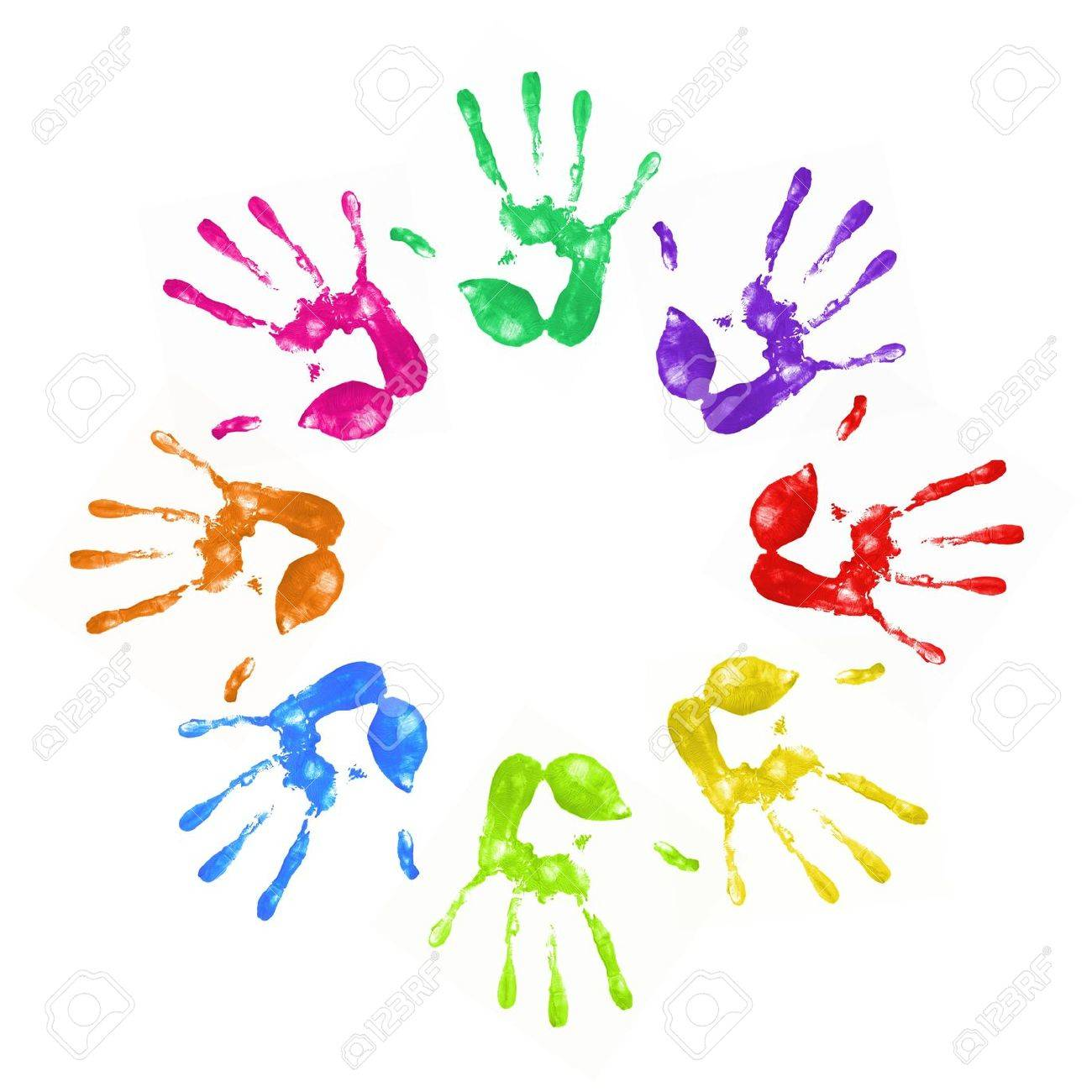 a lot of colorful hand prints on white background Stock Photo - 9135987
