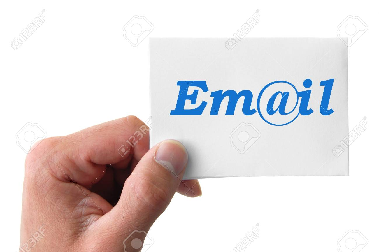 hand holding a card with the word E-Mail Stock Photo - 9249572