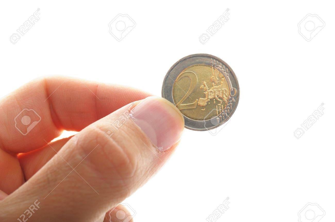 human hand holding an euro coin, isolated on white background Stock Photo - 9745778