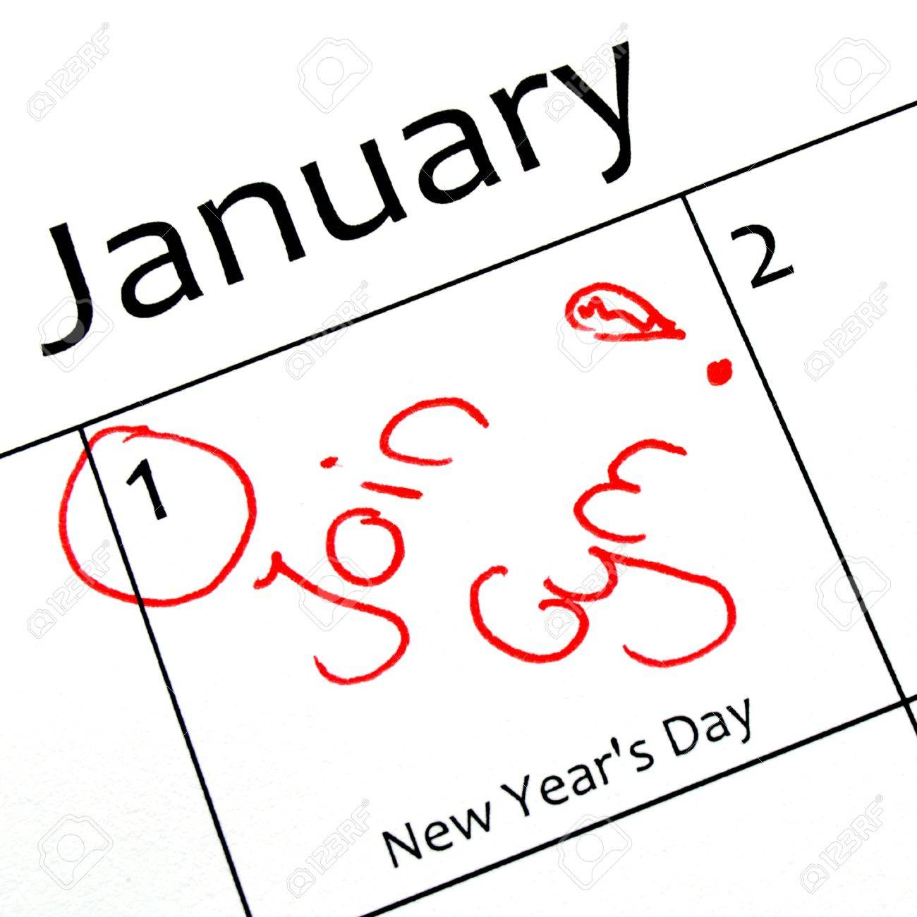 calendar marking the start of a new year resolution in red letter Stock Photo - 11148278