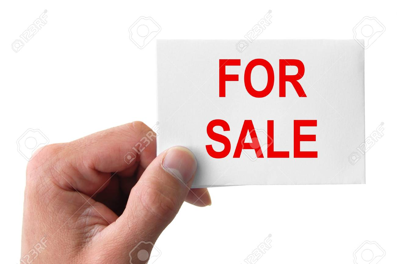 hand holding a card with the word for sale Stock Photo - 11148277