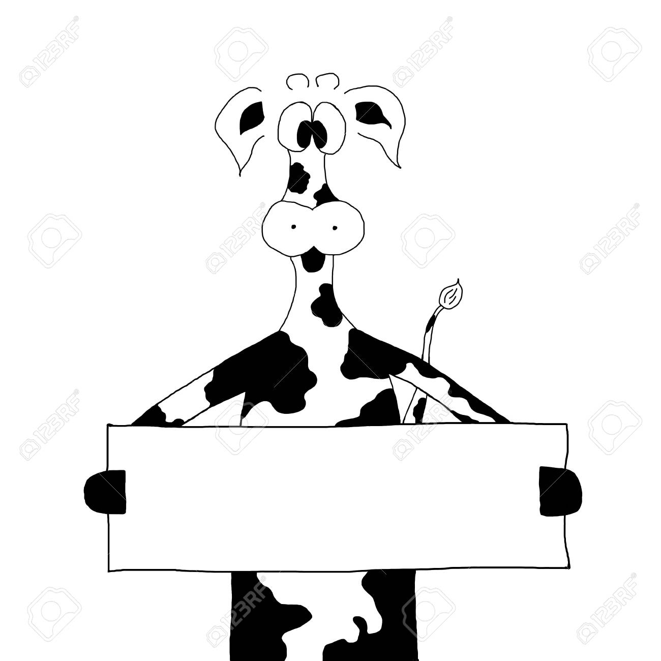 funny back and white cow hold a sign Stock Photo - 11475530